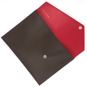 TAUPE & RED DOCUMENT HOLDER