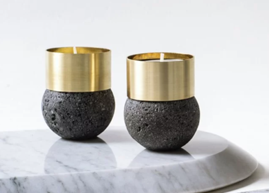 Lavastone Brass Candle Holders