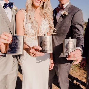 bride and groom gift flasks