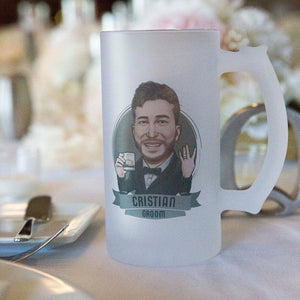 personalized groom beer mug