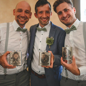 three groomsmen gift flasks