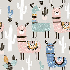 Llama Kids Art Pattern Canvas Print Grey Multi