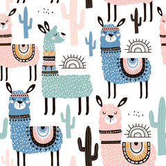 Llama Kids Art Pattern Canvas Print Multi
