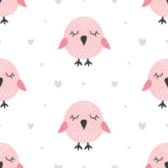 Birdy Kids Art Pattern Canvas Print Pink