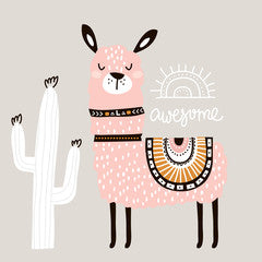 Awesome Llama Kids Art Canvas Print Pink