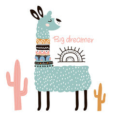 Big Dreamer Llama Kids Art Canvas Print Mint Green