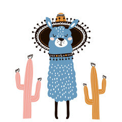 Sombrero Llama Kids Art Canvas Print Blue