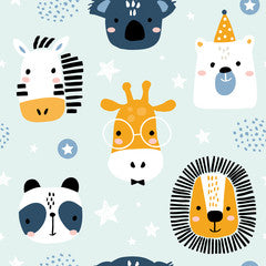 Zoo Animal Faces Kids Art Pattern Canvas Print Blue