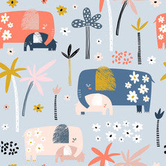 Elephant Kids Art Pattern Canvas Print Bright