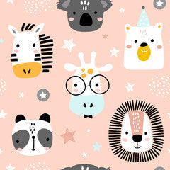 Zoo Animal Faces Kids Art Pattern Canvas Print Pink