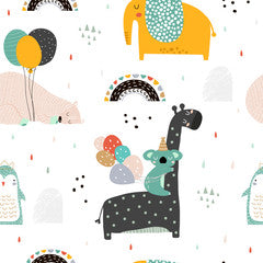 Giraffe and Animal Friends Kids Art Pattern Canvas Print Multi