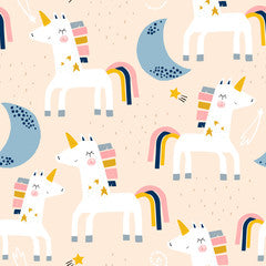 Moon Unicorn Pattern Canvas Print Apricot