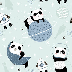 Space Panda Canvas Print Mint Green