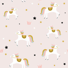 Unicorn Star Pattern Canvas Print Pink