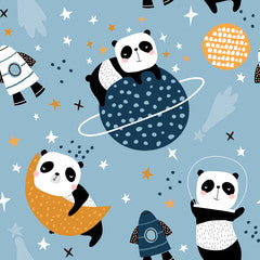 Space Panda Canvas Print Blue