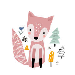 Pink Fox Kids Art Canvas Print