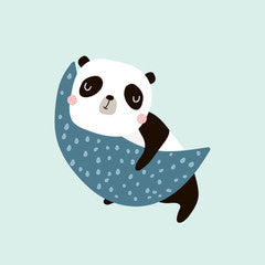 Moon Panda Canvas Print Mint Green
