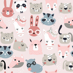 Animal Friend Faces Kids Art Pattern Canvas Print Pink
