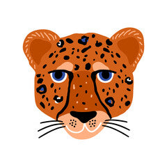 Cheetah Head Kids Art Canvas Print