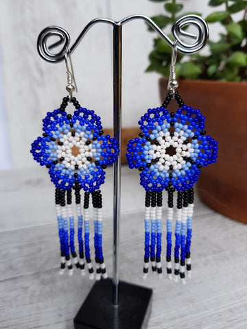 Big flower Huichol earring
