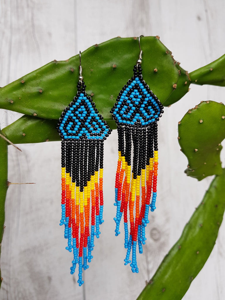 Mexican Motif Huichol Earrings