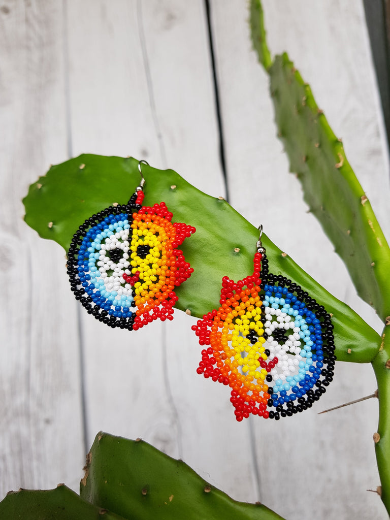 Moon and Sun Mexican Huichol Earrings