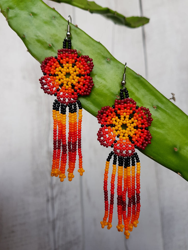 Big flower Huichol earrings