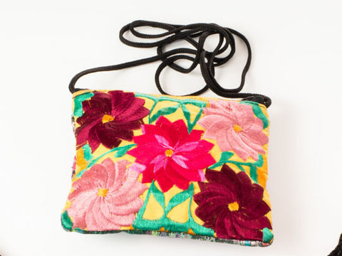 Flower embroidered shoulder bag (Small)
