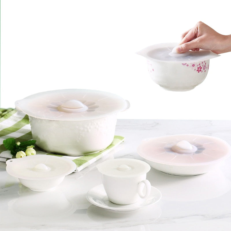 5 PC Reusable Silicone lid set - The Helpful Kitchen