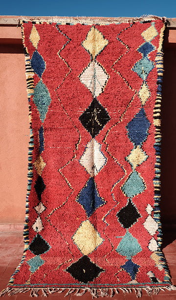 Geometrical Red Berber Rug 9.35 ft x 4.59 ft - moroccan boho rugs