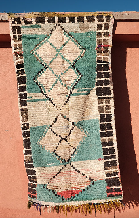 Old Cotton Boucherouite rug Blue & White 6.29 ft x 3.14 ft - moroccan boho rugs