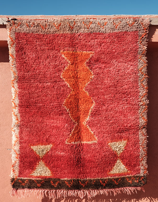 Moroccan Red small red rug   4.92 ft x 3.87 ft - moroccan boho rugs