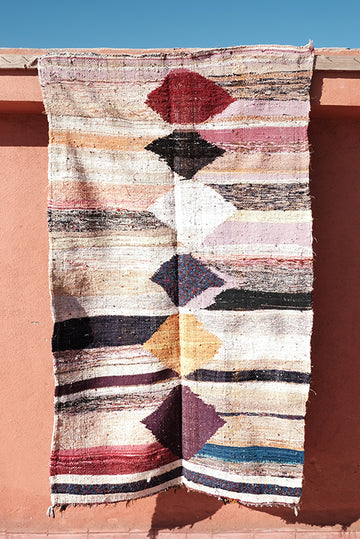 Colorful Flat-woven Boucherouite rugs 6.23 ft x 3.80 ft - moroccan boho rugs