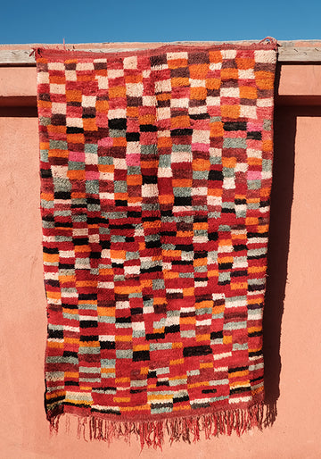 Little Colored Squares Moroccan Rug  5.57 ft x 3.44 ft - moroccan boho rugs