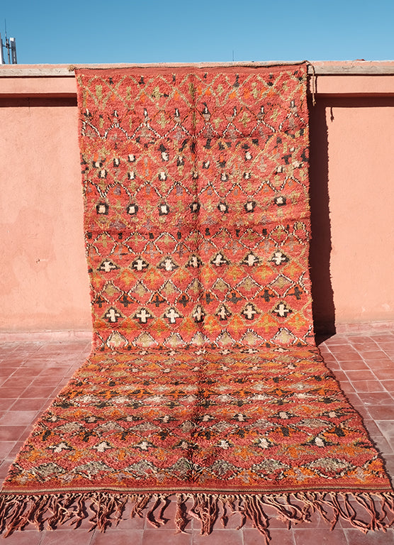 Red tribal talsint rug 14.43 ft x 6.03 ft - moroccan boho rugs