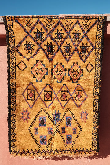 Decorative Yellow berber rug 5.47 ft x 3.74 ft - moroccan boho rugs