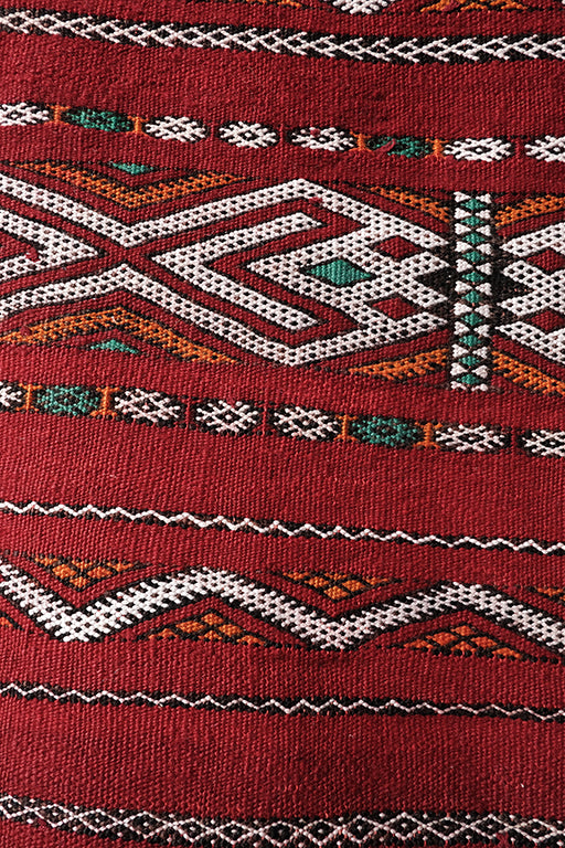 Red Embroidered Berber Kilim 4.79 ft x 4.36 ft - moroccan boho rugs