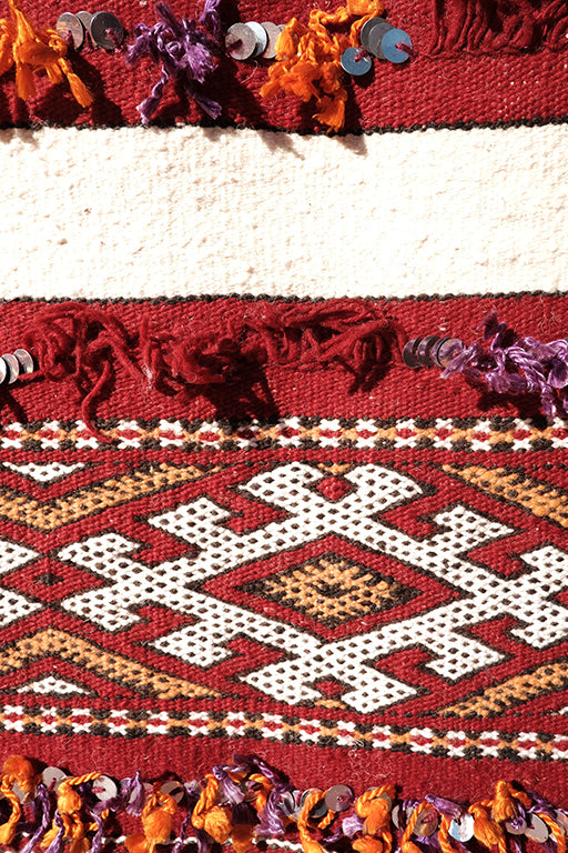 Red Flamboyant Kilim 11.48 ft x 5.74 ft - moroccan boho rugs