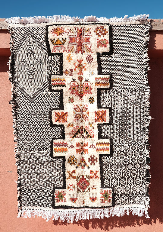 Double Knots kilim and Rug  4.75 ft x 3.28 ft - moroccan boho rugs