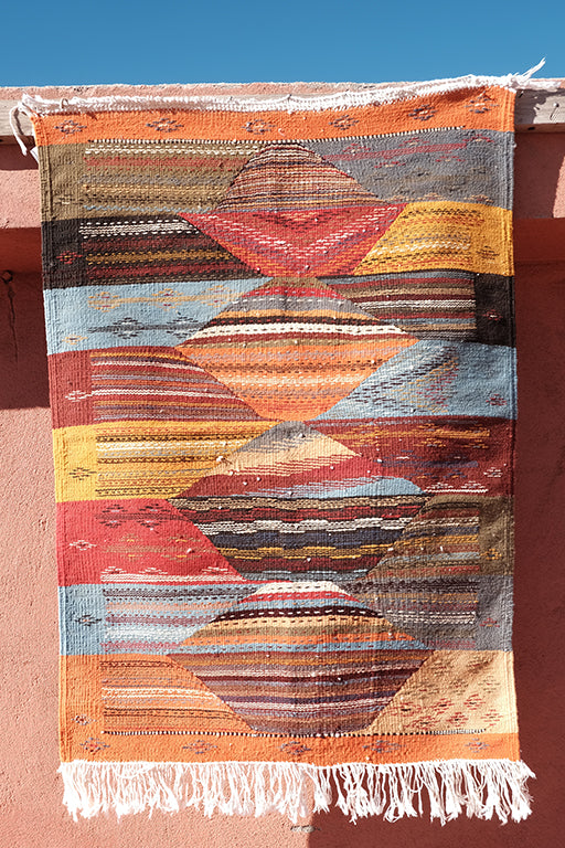 Rich colors Berber Kilim 3.28 ft x 2.36 ft - moroccan boho rugs