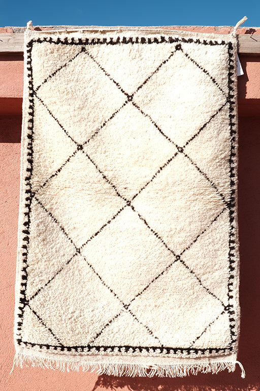 Small Berber rug 3.47 ft x 2.39 ft - moroccan boho rugs