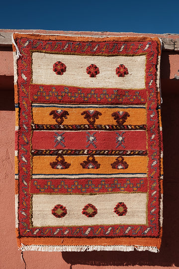 Tribal orange and red Kilim  3.18 ft x 2.23 ft - moroccan boho rugs