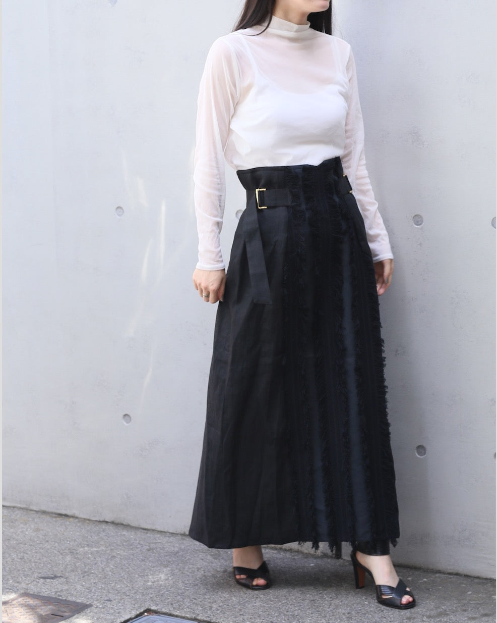 fringe JQ skirt BLACK