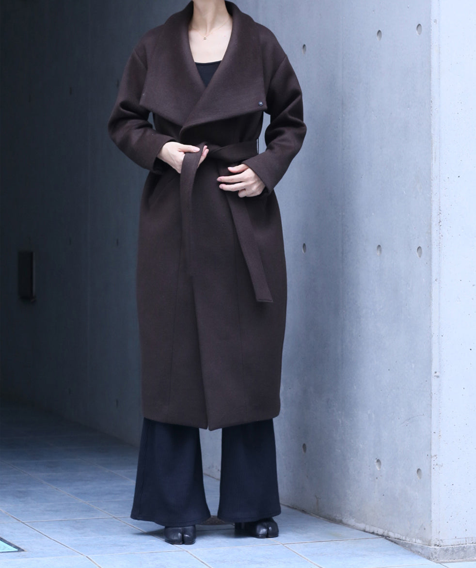 stand collar coat dark brown
