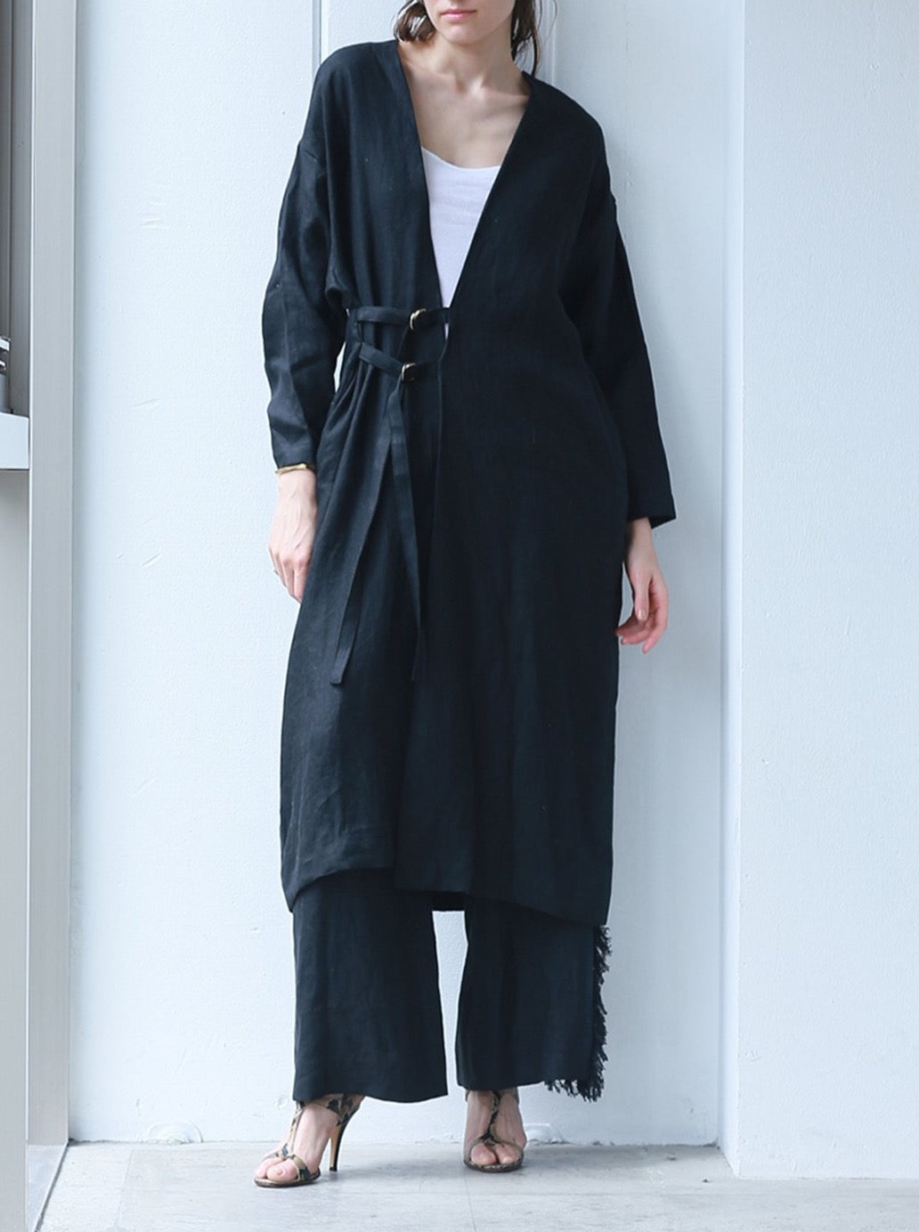 linen cardigan coat BLACK