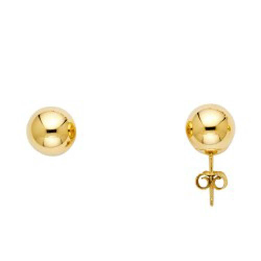 14k Gold Ball Earrings Push Back