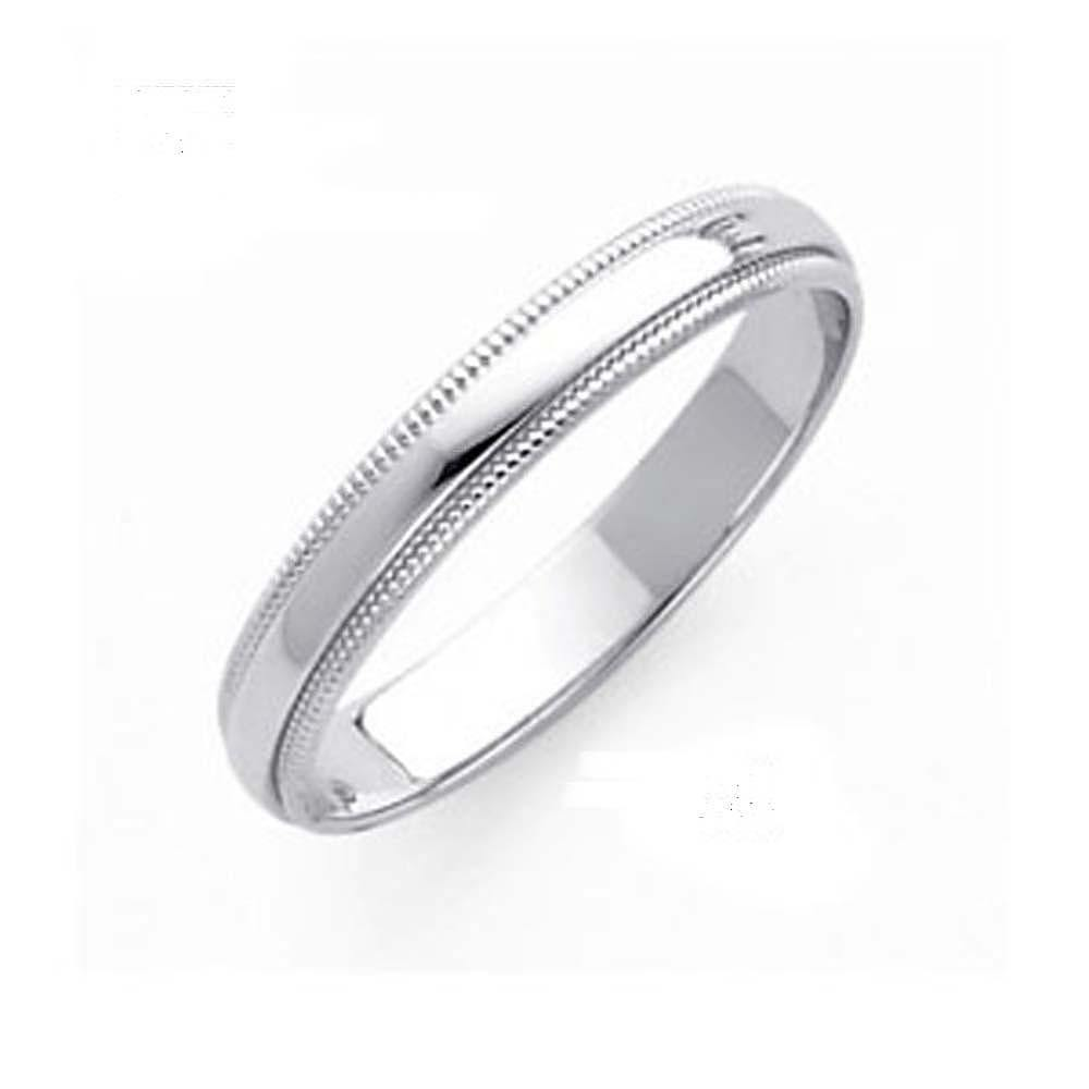 14k White Gold Comfort Fit Band - Milgrain