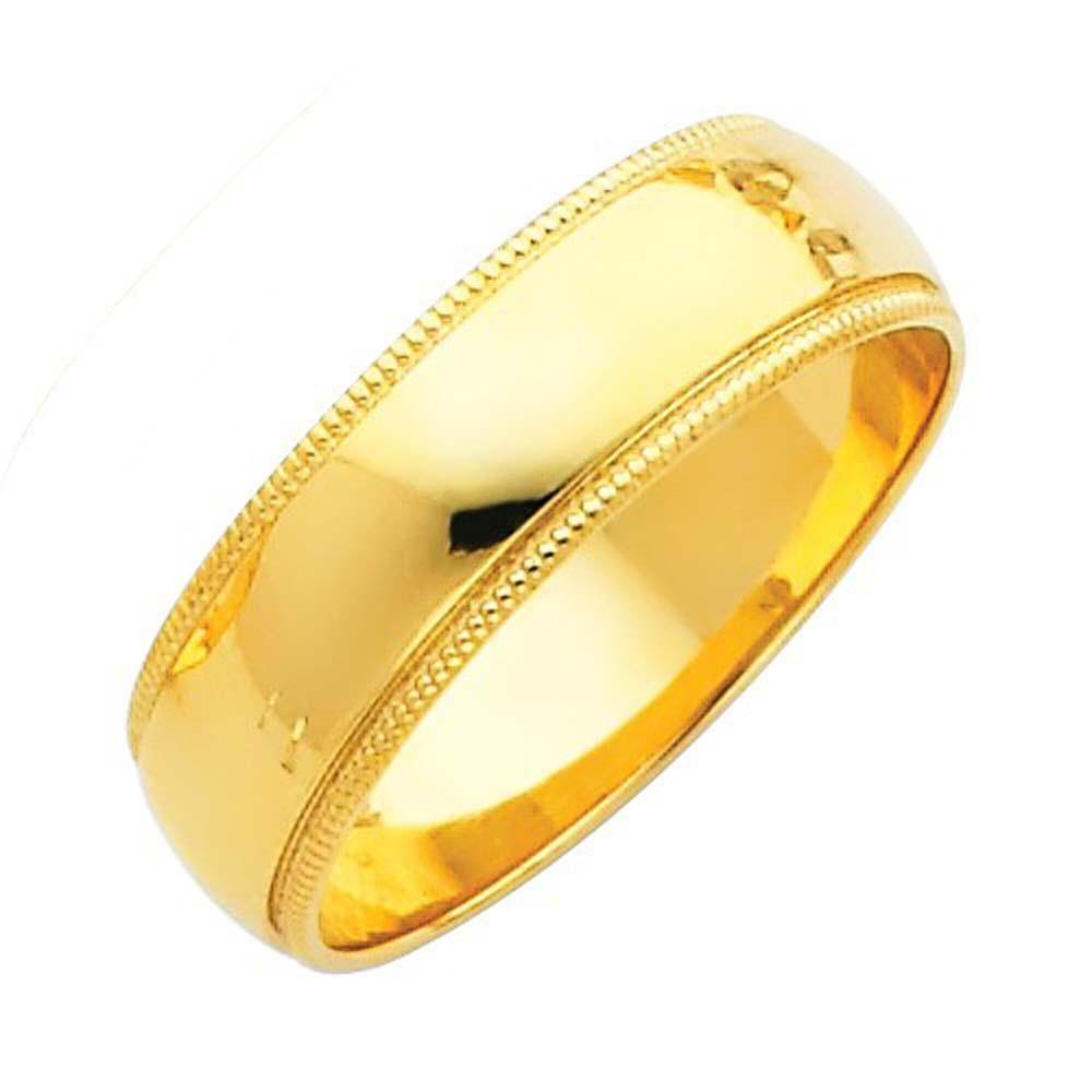 Yellow Gold Milgrain Wedding Bands