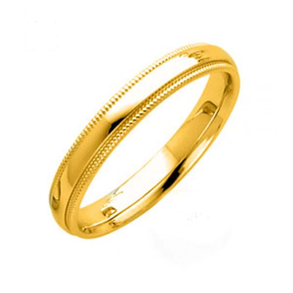 14k Yellow Gold Comfort Fit Band - Milgrain