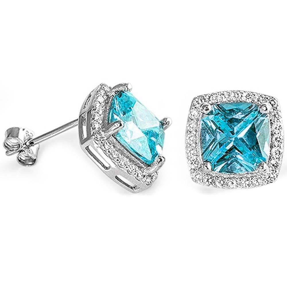 Sterling Silver Cushion Cut Aquamarine & Cubic Zirconia EarringAnd Thickness 11mm